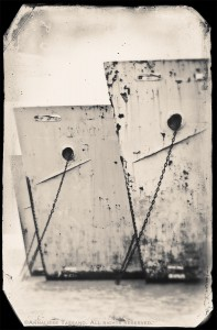 The rusting bows of three World War II Liberty Ships, at anchor in Suisan Bay, before the removal of the Naval Reserve Fleet there.