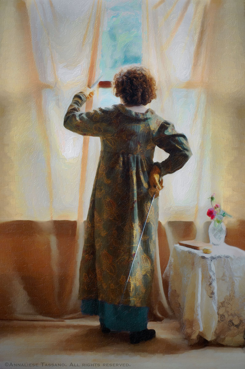 Author Madeleine Robins as Sarah Tolerance: a curly red haired woman in regency attire and gloves stands at a window holding a sword and a dagger while peering out the curtains.